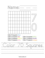 Color 70 Squares Handwriting Sheet