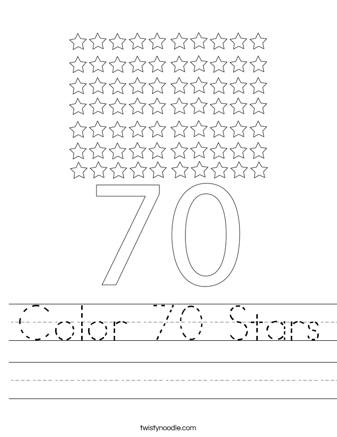 Color 70 Stars Worksheet
