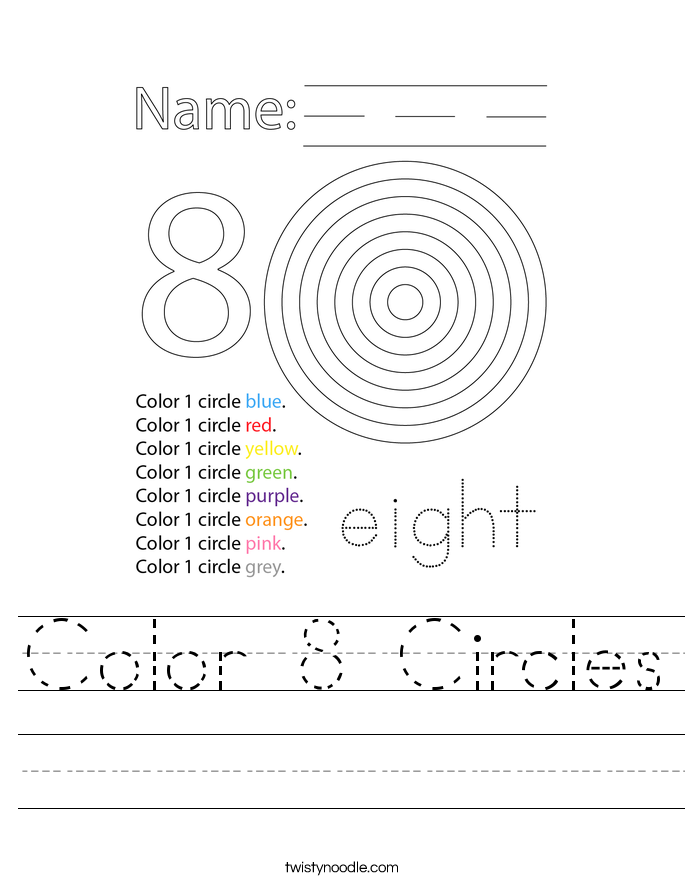 Color 8 Circles Worksheet