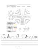 Color 8 Circles Handwriting Sheet