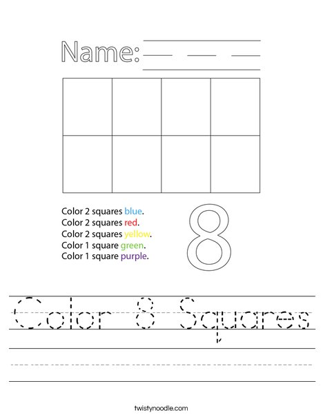 Color 8 Squares Worksheet