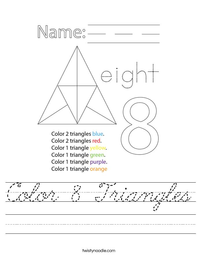 Color 8 Triangles Worksheet