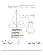 Color 8 Triangles Handwriting Sheet