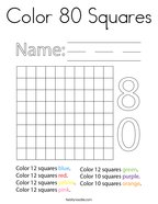 Color 80 Squares Coloring Page