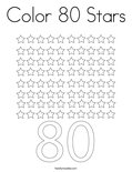 Color 80 Stars Coloring Page