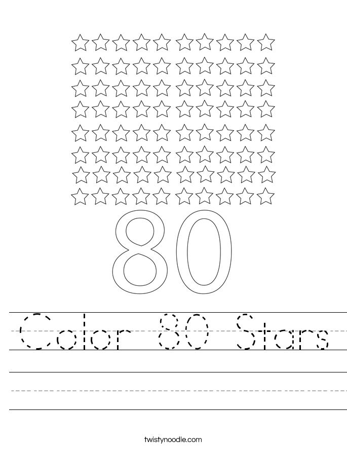 Color 80 Stars Worksheet