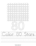 Color 80 Stars Handwriting Sheet