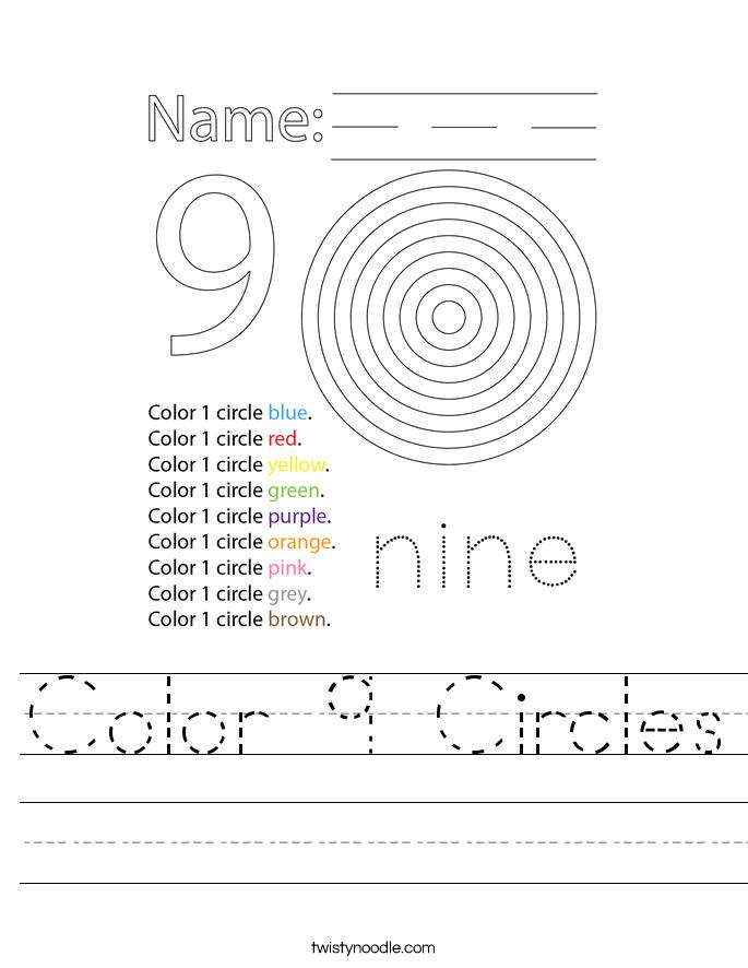 Color 9 Circles Worksheet