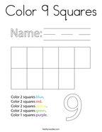 Color 9 Squares Coloring Page