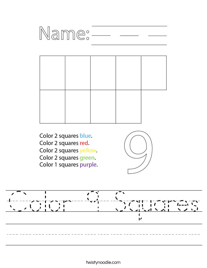 Color 9 Squares Worksheet