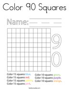 Color 90 Squares Coloring Page
