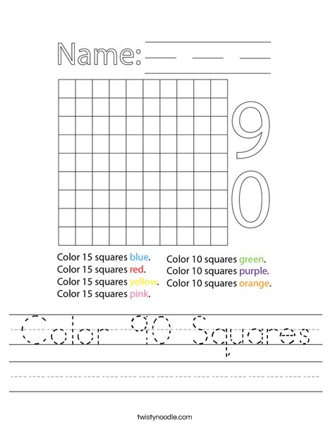 Color 90 Squares Worksheet
