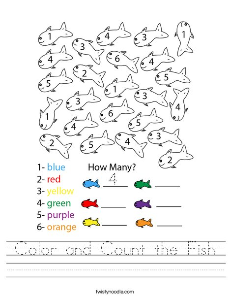 Color and Count the Fish Worksheet