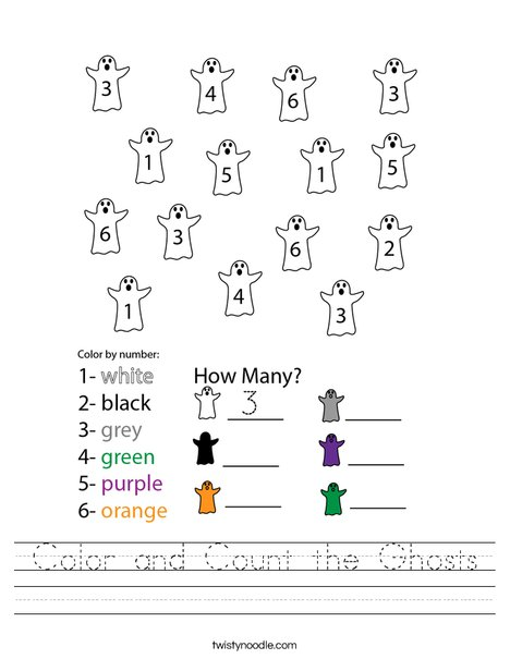 Color and Count the Ghosts Worksheet