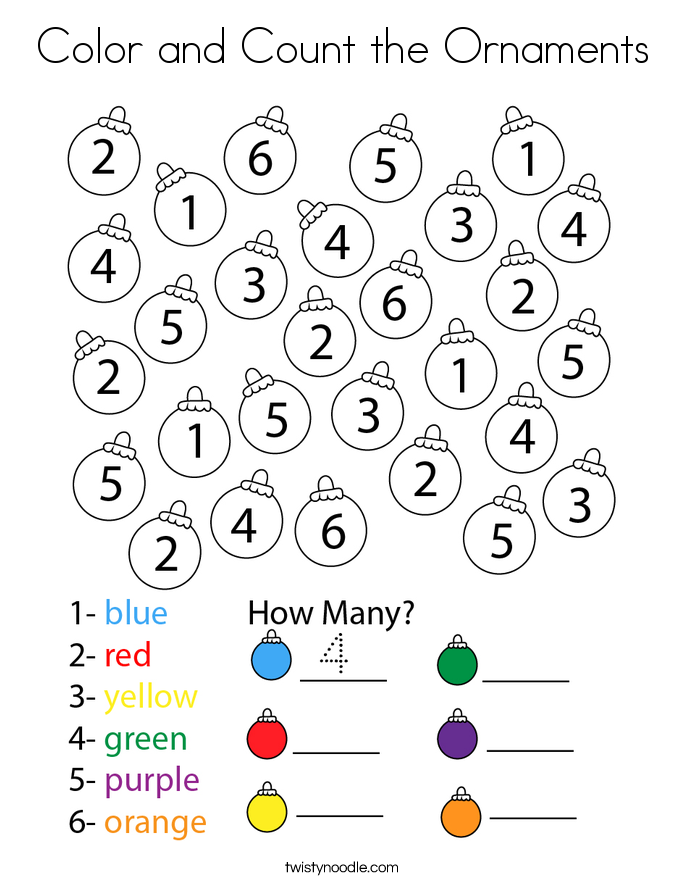 Color and Count the Ornaments Coloring Page