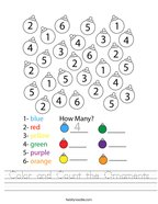 Color and Count the Ornaments Handwriting Sheet