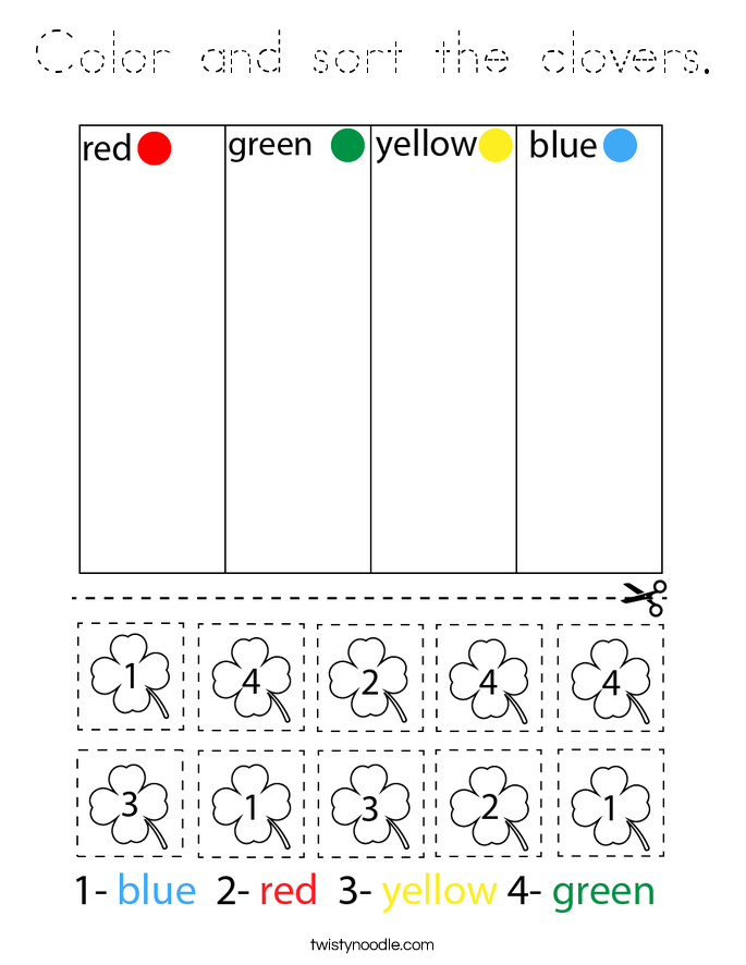 Color and sort the clovers. Coloring Page