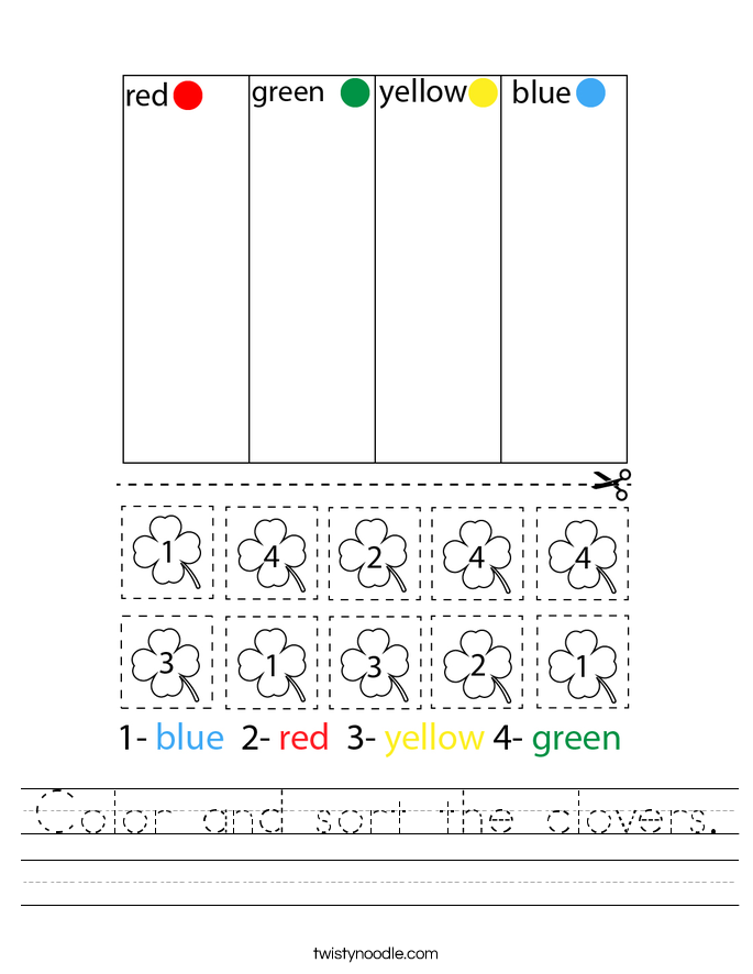 Color and sort the clovers. Worksheet