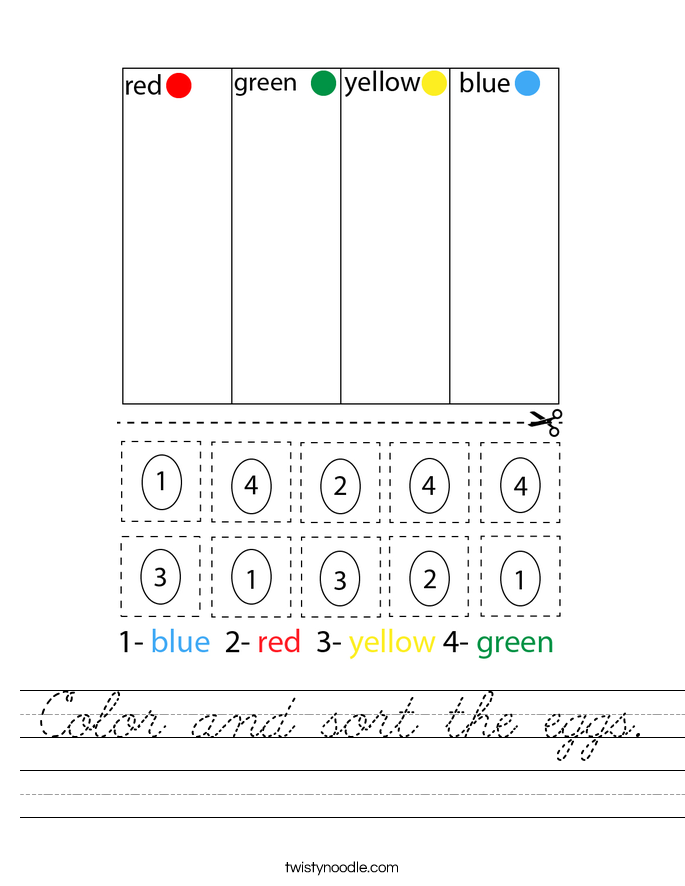 Color and sort the eggs. Worksheet