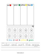 Color and sort the eggs Handwriting Sheet