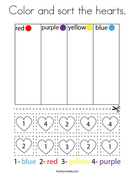 Color and sort the hearts. Coloring Page
