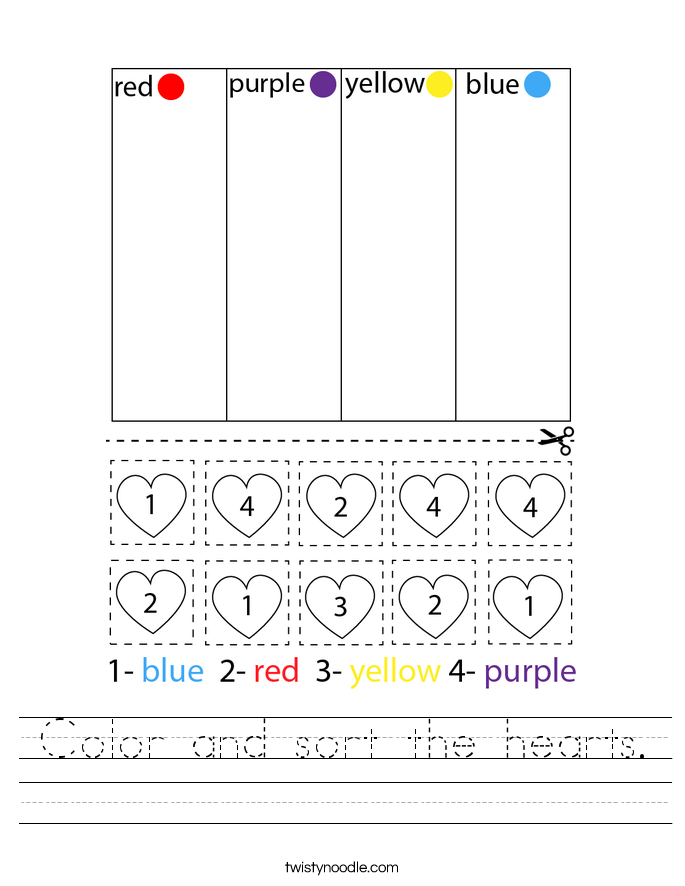 Color and sort the hearts. Worksheet