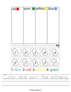 Color and sort the mittens Handwriting Sheet