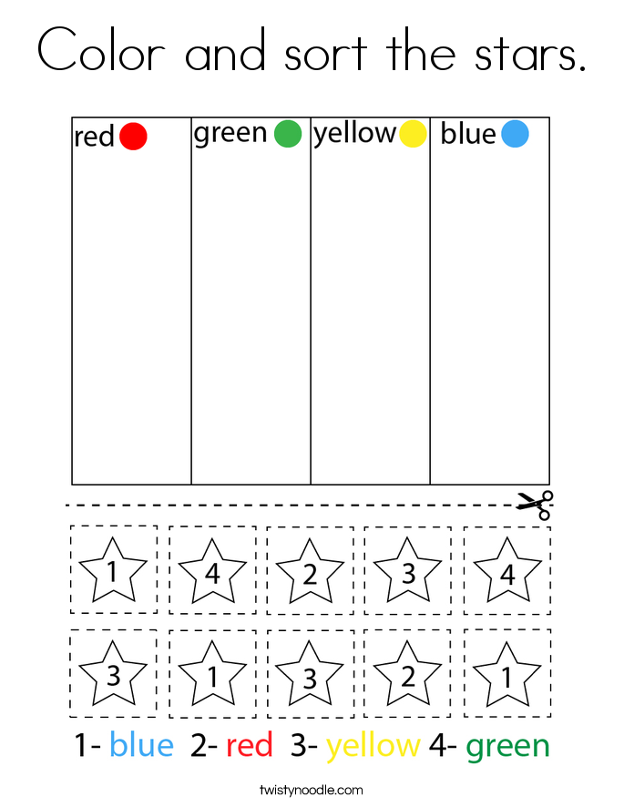 Color and sort the stars. Coloring Page