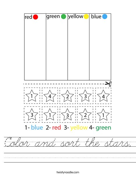 Color and sort the stars. Worksheet