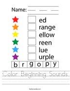 Color Beginning Sounds Handwriting Sheet