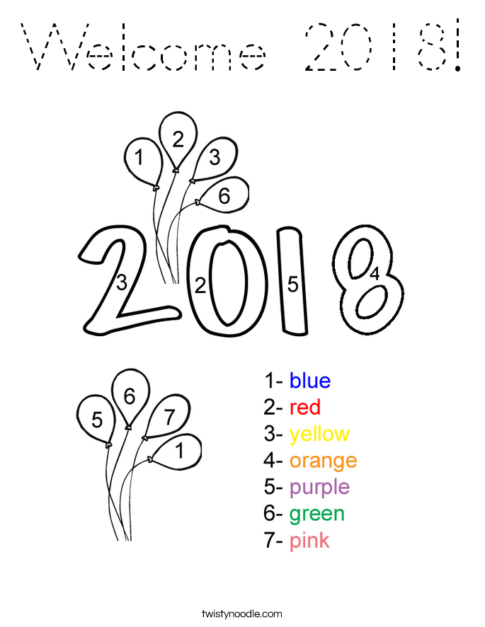 Welcome 2018! Coloring Page