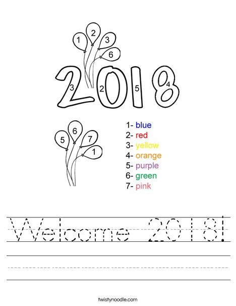 Color by Number 2016 Worksheet