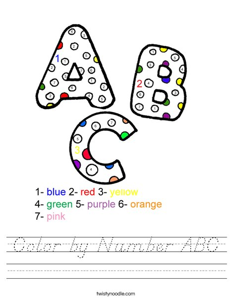 Color by Number ABC Worksheet