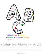 Color by Number ABC Handwriting Sheet