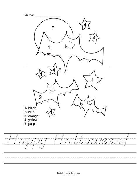 Color by Number Bats Worksheet