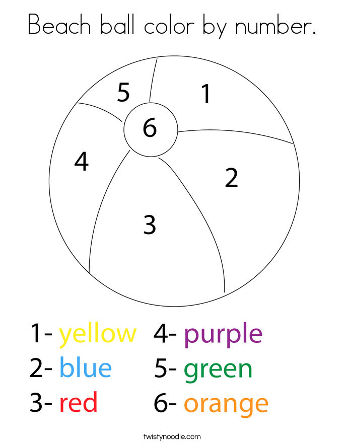 Beach ball color by number. Coloring Page
