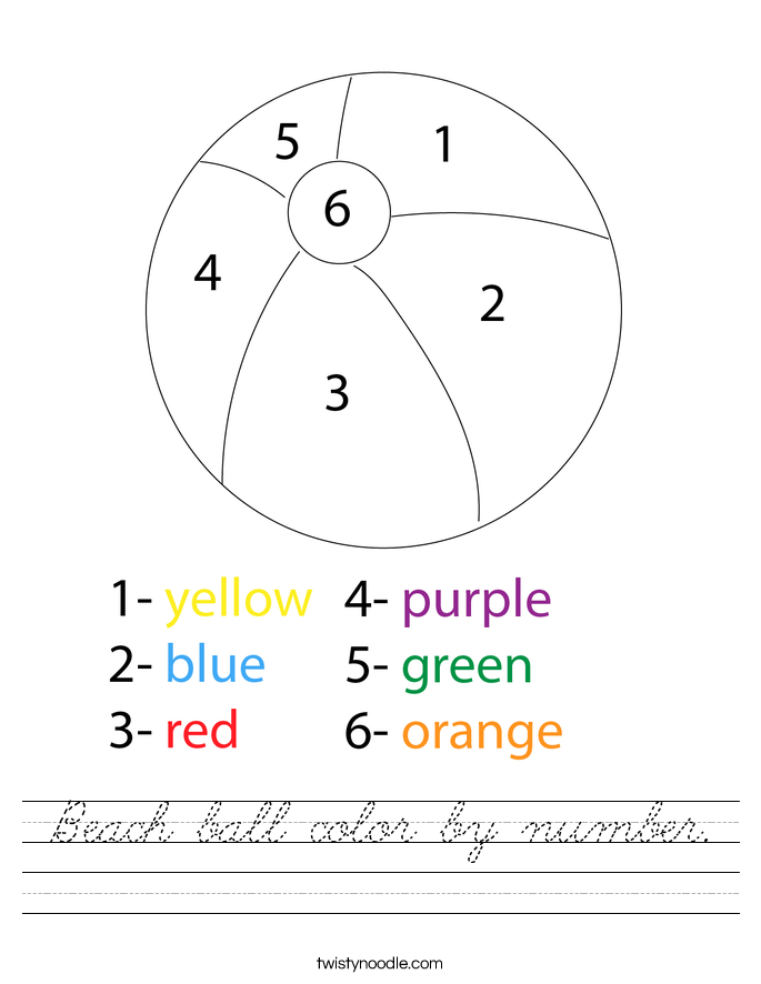 Beach ball color by number. Worksheet