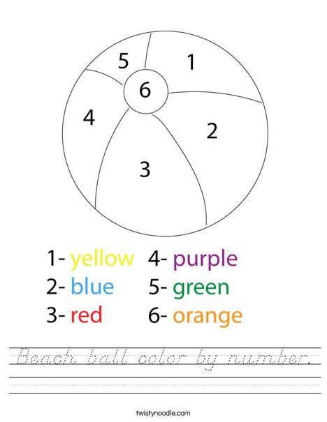 Color by number beach ball. Worksheet