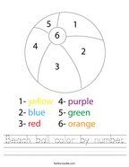 Beach ball color by number Handwriting Sheet