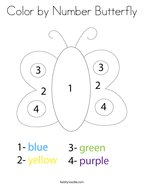 Color by Number Butterfly Coloring Page