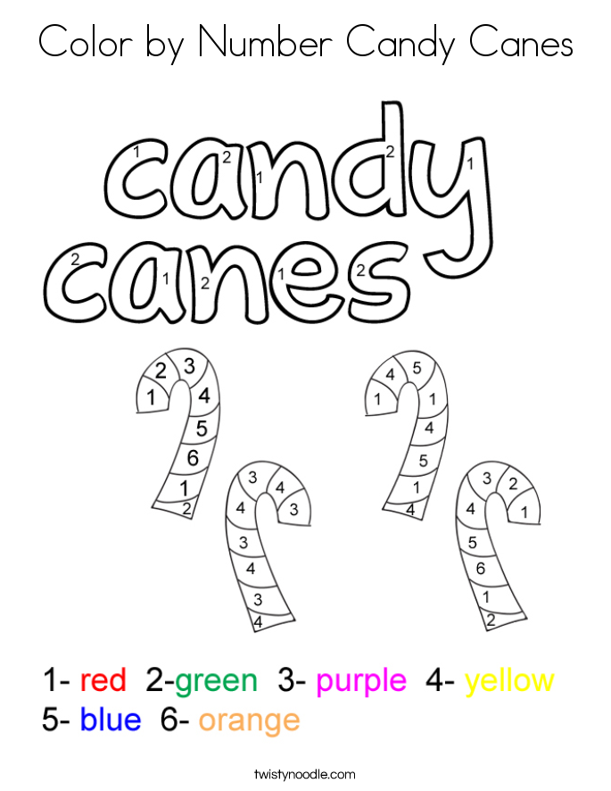 Candy Color By Number - Worksheet & Coloring Pages