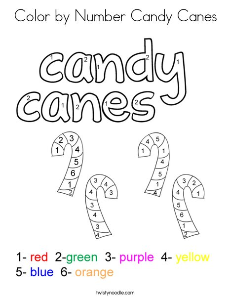 Color by number candy canes Coloring Page