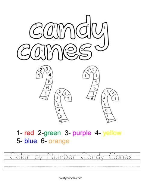 Color by number candy canes Worksheet