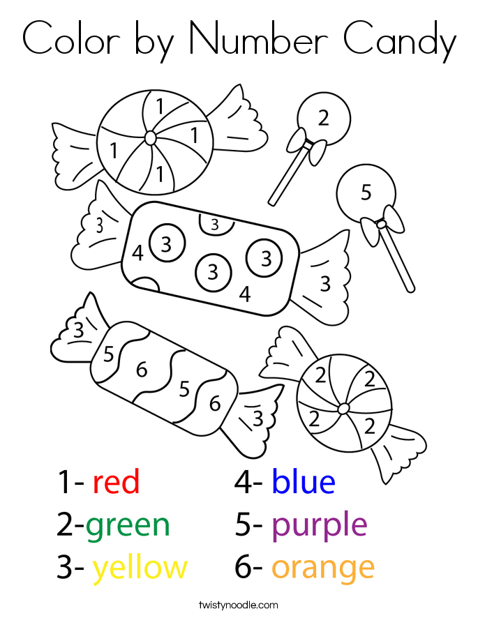 Color by Number Candy Coloring Page