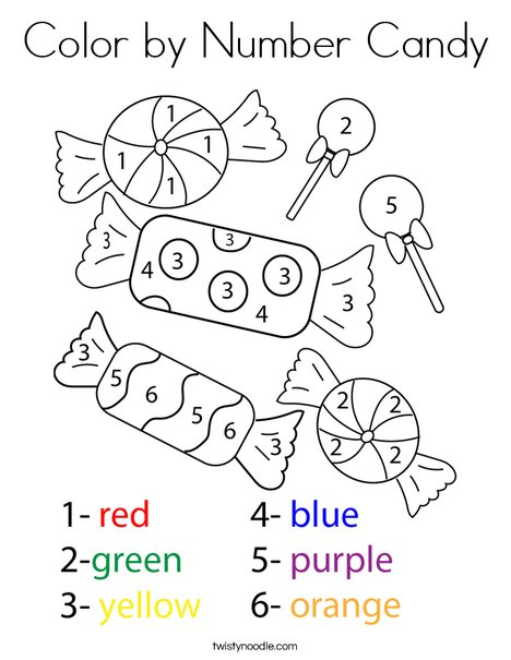 Color by Number Candy Coloring Page - Twisty Noodle