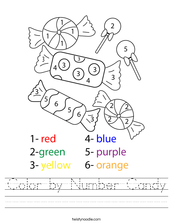 Color by Number Candy Worksheet