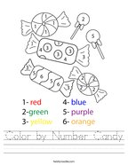 Color by Number Candy Handwriting Sheet