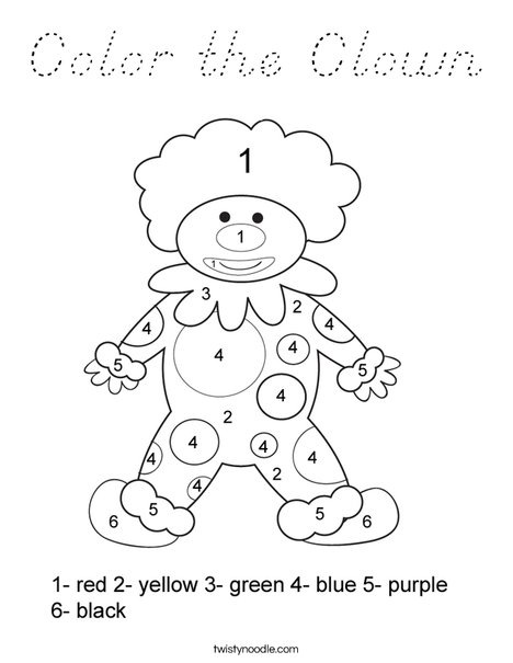 Color by Number Clown Coloring Page