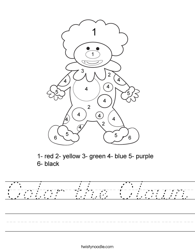 Color the Clown Worksheet