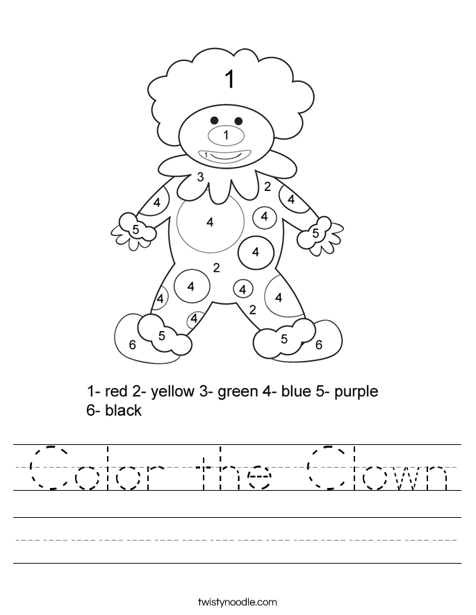 Color Clown Worksheet Twisty Noodle